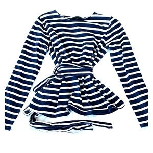 J. Crew Navy blue & white striped wrap shirt